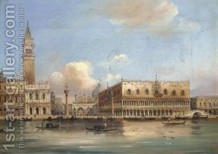 View of the Doge's Palace and St. Mark's Square from the Grand Canal by Carlo Grubacs - Reproduction Oil Painting