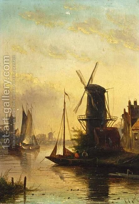 Summer Landscape with a Windmill at Sunset by Jan Jacob Coenraad Spohler - Reproduction Oil Painting