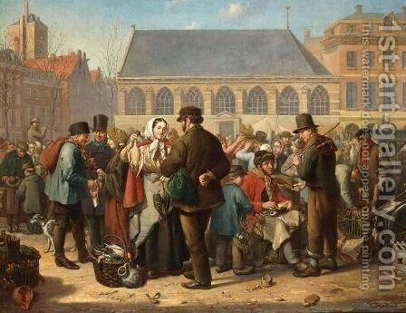 Nieuwe Markt in Rotterdam by Jacob Akkersdijk - Reproduction Oil Painting