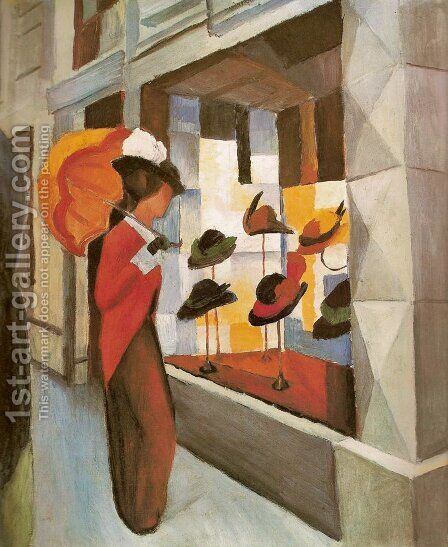 Milliner's (Hutladen) by August Macke - Reproduction Oil Painting