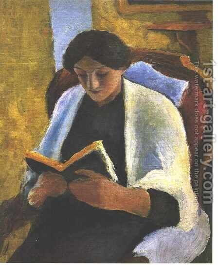 Woman Reading in Red Armchair (Lesende Frau im roten Sessel) by August Macke - Reproduction Oil Painting