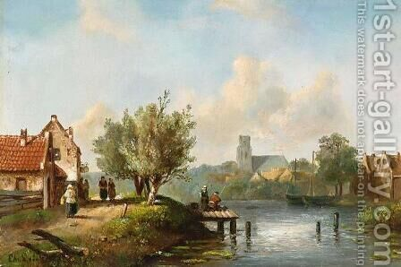 Figures Near a Waterside Inn by Charles Henri Leickert - Reproduction Oil Painting