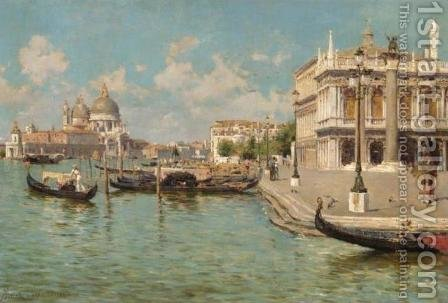 Gondoliers by St Mark's Square with Santa Maria della Salute beyond by Augusto Lovatti - Reproduction Oil Painting