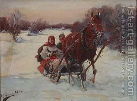 Sledge Ride by J. Konarski - Reproduction Oil Painting