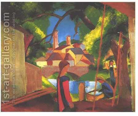 Children at the Pump (Kinder am Brunnen) by August Macke - Reproduction Oil Painting
