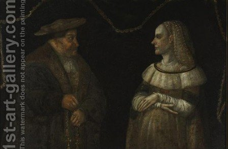 Portrait of Catherina and Gregory Przybylo by - Unknown Painter - Reproduction Oil Painting
