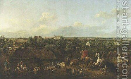View of Ujazdow and Lazienki Palace by Bernardo Bellotto (Canaletto) - Reproduction Oil Painting