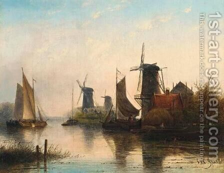 Windmills in a Summer Landscape by Jan Jacob Coenraad Spohler - Reproduction Oil Painting