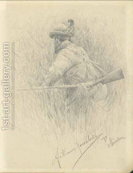 Hunter I by Alfred Wierusz-Kowalski - Reproduction Oil Painting