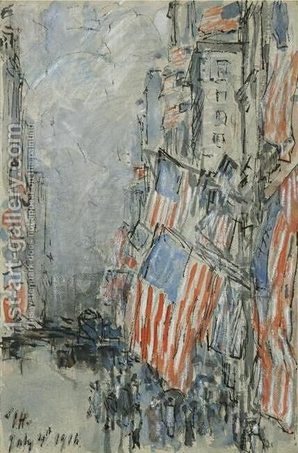 Flag Day, Fifth Avenue, July 4th 1916 by Childe Hassam - Reproduction Oil Painting