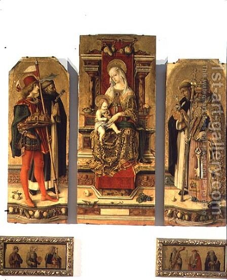 Madonna and Child enthroned with SS. Peter, Peter the Martyr (c.1205-52) Dominic and George by Carlo Crivelli - Reproduction Oil Painting