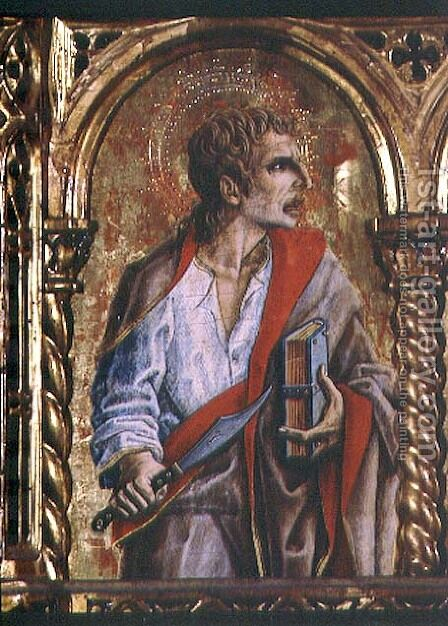 St. Bartholomew, detail from the Sant'Emidio polyptych, 1473 by Carlo Crivelli - Reproduction Oil Painting
