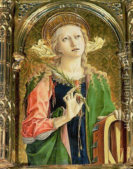 St. Catherine of Alexandria, detail of the Sant'Emidio polyptych, 1473 by Carlo Crivelli - Reproduction Oil Painting