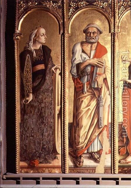 St. Catherine of Alexandria and St. Peter, detail from the Santa Lucia triptych by Carlo Crivelli - Reproduction Oil Painting