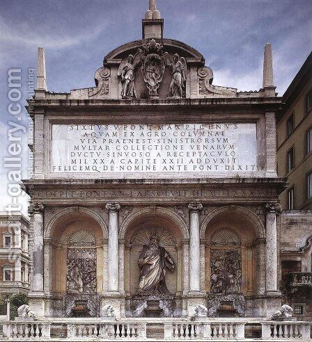 Fontana dell'Acqua Felice (Moses Fountain) by Domenico Fontana - Reproduction Oil Painting