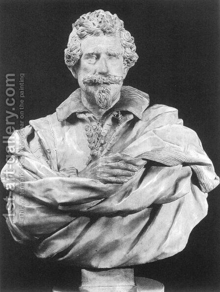 Bust of Michelangelo Buonarroti the Younger by Giuliano Finelli - Reproduction Oil Painting