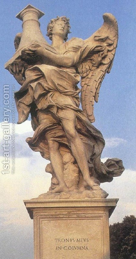 Angel with the Column (front view) by Antonio Raggi - Reproduction Oil Painting