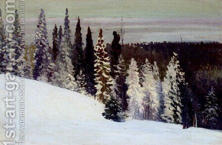 Fir Trees In A Winter Landscape by Alexandr Alekseevich Borisov - Reproduction Oil Painting