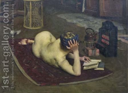 Nude Reading at Studio Fire by Bernard Hall - Reproduction Oil Painting