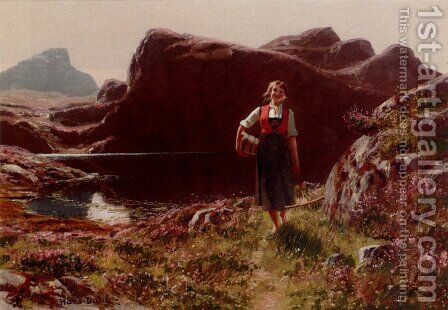 A Girl On A Sunlit Track Before A Fjord by Hans Dahl - Reproduction Oil Painting