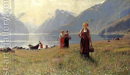 A Summer's Day by Hans Dahl - Reproduction Oil Painting