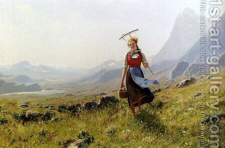 In The Mountains by Hans Dahl - Reproduction Oil Painting