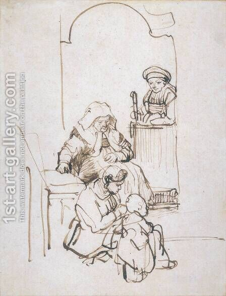 Three Women and a Child at the Door by Harmenszoon van Rijn Rembrandt - Reproduction Oil Painting