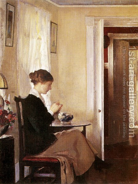 Josephine Knitting by Edmund Charles Tarbell - Reproduction Oil Painting