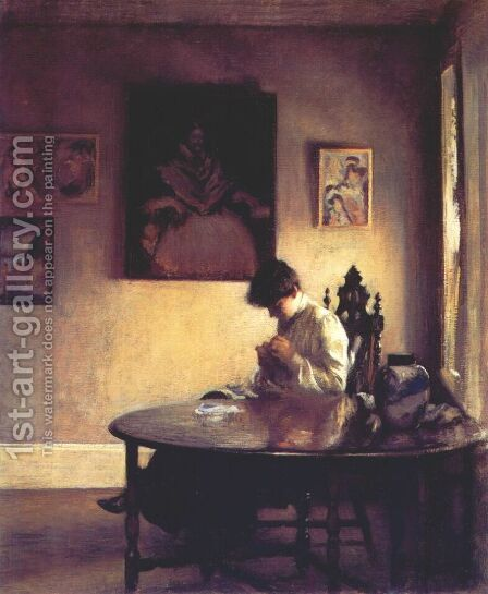 Girl Crotcheting by Edmund Charles Tarbell - Reproduction Oil Painting