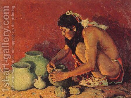 The Pottery Maker by Eanger Irving Couse - Reproduction Oil Painting