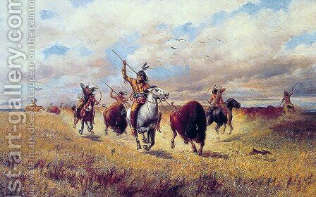 Indian Buffalo Hunt by Charles Craig - Reproduction Oil Painting