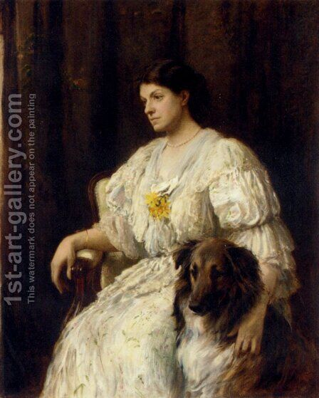 Portrait of a lady with her collie, seated, three-quarter length by Heywood Hardy - Reproduction Oil Painting