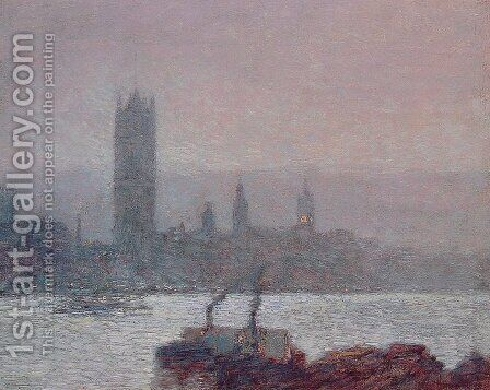Houses of Parliament, Early Evening by Childe Hassam - Reproduction Oil Painting