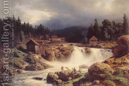 Norwegian Landscape by Herman Herzog - Reproduction Oil Painting