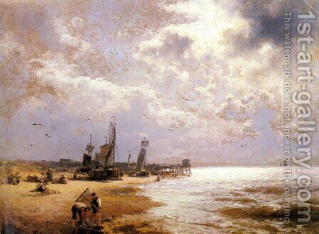 Fishing Scenes - Pic 1 by Herman Herzog - Reproduction Oil Painting