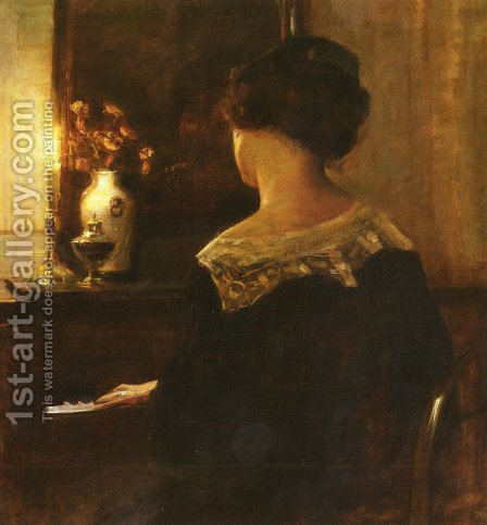 A Lady Playing The Piano by Carl Vilhelm Holsoe - Reproduction Oil Painting