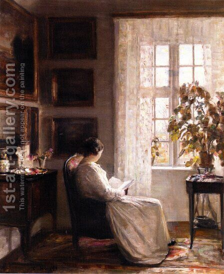Reading in the Morning Light by Carl Vilhelm Holsoe - Reproduction Oil Painting