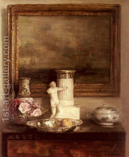 Still Life with Classical Column and Statue by Carl Vilhelm Holsoe - Reproduction Oil Painting
