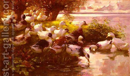 Ducks On A Lake by Alexander Max Koester - Reproduction Oil Painting