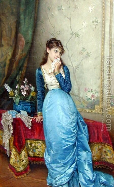 The Love Letter I by Auguste Toulmouche - Reproduction Oil Painting
