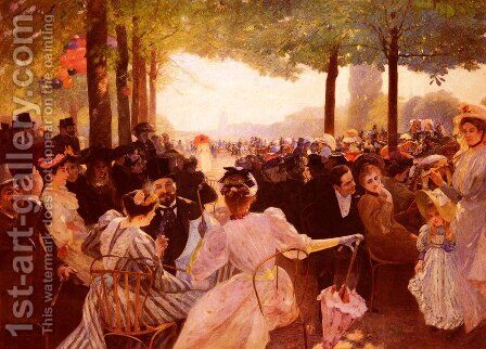 Avenue Du Bois-De-Boulogne (or Club Des Pannes) by Albert Marie Adolphe Dagnaux - Reproduction Oil Painting