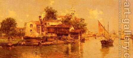 A Boathouse in Venice by Antonio Maria de Reyna - Reproduction Oil Painting