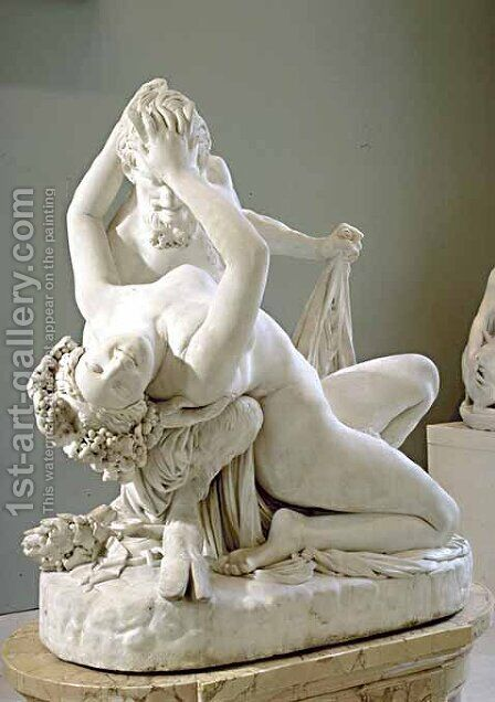 Satyr and Bacchante [detail #6] by James Pradier - Reproduction Oil Painting