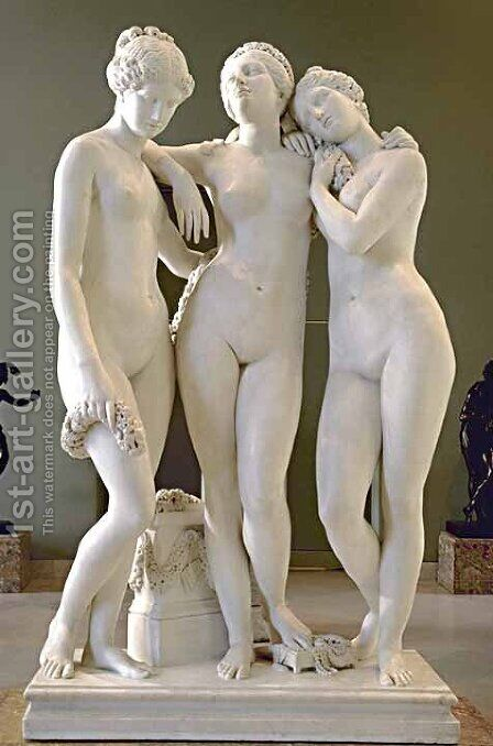 Les Trois Graces (The Three Graces) by James Pradier - Reproduction Oil Painting