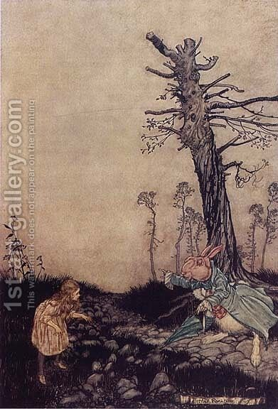 Alice in Wonderland: Down the Rabbit Hole by Arthur Rackham - Reproduction Oil Painting