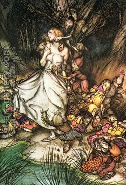 Goblin Market: White and golden Lizzie stood by Arthur Rackham - Reproduction Oil Painting