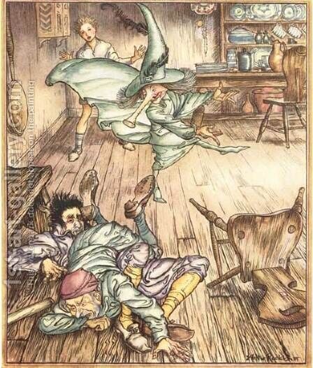 King of the Golden River: So there they lay, all three by Arthur Rackham - Reproduction Oil Painting