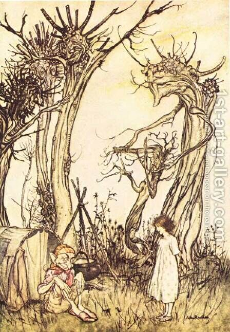 Mother Goose: Man in the Wilderness by Arthur Rackham - Reproduction Oil Painting