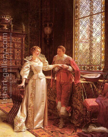 La Demande En Mariage (The Marriage Proposal) by Charles Joseph Frederick Soulacroix - Reproduction Oil Painting