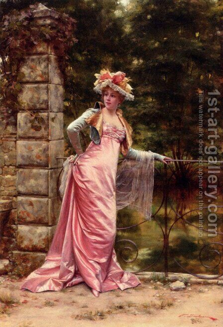 In The Garden by Charles Joseph Frederick Soulacroix - Reproduction Oil Painting